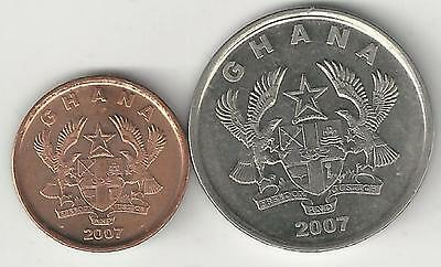 2 COINS from GHANA - 1 & 20 PESEWAS (BOTH DATING 2007)..