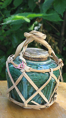 Antique Chinese Green Glaze Pottery Hexagon Ginger Jar #2 of 2