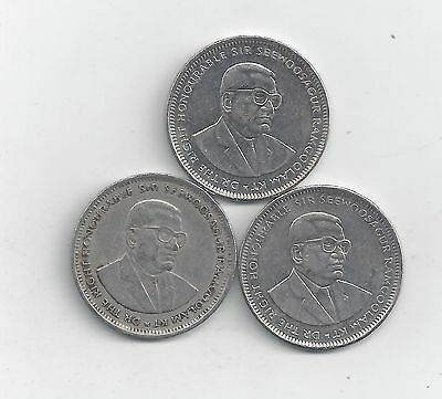 3 DIFFERENT 1 RUPEE COINS from MAURITIUS (1997, 2005 & 2010)