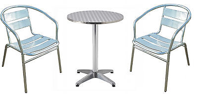 Aluminium Outdoor Table and 2 Chairs Weatherproof Garden Furniture Set Patio NEW