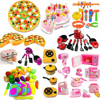 9# Kitchen Food Pretend Game Toy Cutting Vegetable Fruit Kids Educational Toys