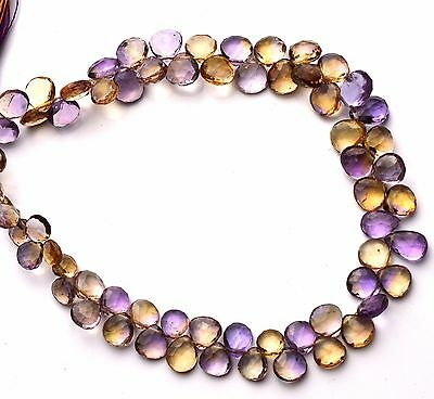 """Natural Gemstone Ametrine 6 to 7MM Faceted Heart Shape Briolette Beads 9"""" Strand"""