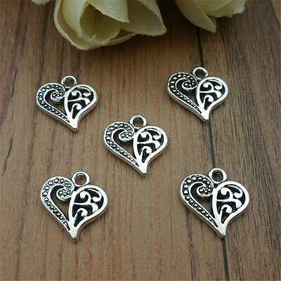Wholesale 10pcs Tibet Silver Love Heart Crafts Charms Pendants Making Jewelry
