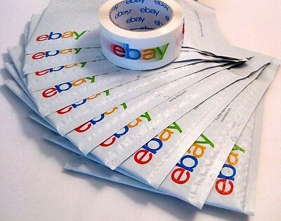 eBay Branded Packaging Shipping Tape Roll & 10 Airjacket/Bubble 6.5x8.7 Envelope