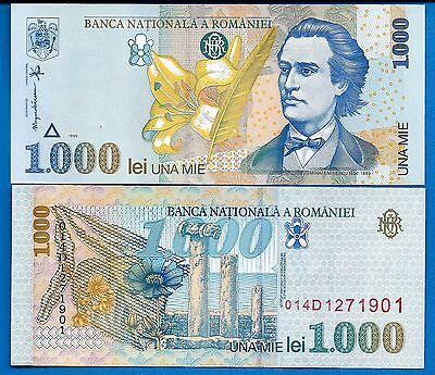 Romania P-106 1000 Lei Year 1998 Uncirculated Banknote FREE SHIPPING
