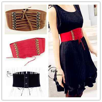 Womens Rivet Elastic Buckle Wide Waist Belt Waistband Corset 3 Colors UK gifts