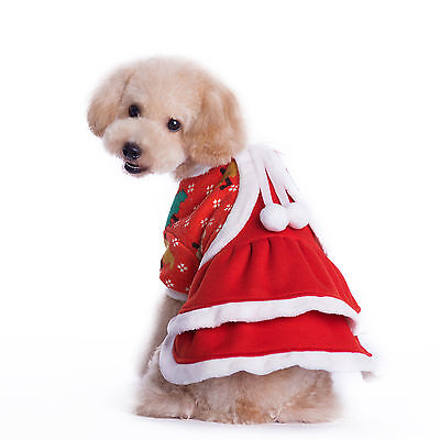 Warm Christmas Dog Clothes Dress Costume Soft Pet Puppy Cat Apparel Coat Winter