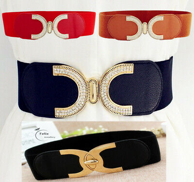 Ladies Wide Fashion Belt Women Black Cinch Waist Belts Elastic Stretch UK gifts