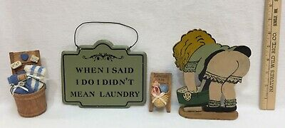 Vintage Laundry Sign Humorous Metal Wall Hanging Girl Washing Clothes Wood WOW