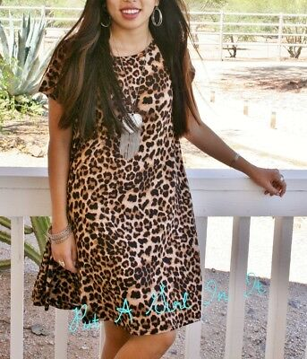 Plus Size Leopard Print Boho Babydoll Full Skirt Usa Mini Dress Xl 1X 2X 3X Usa