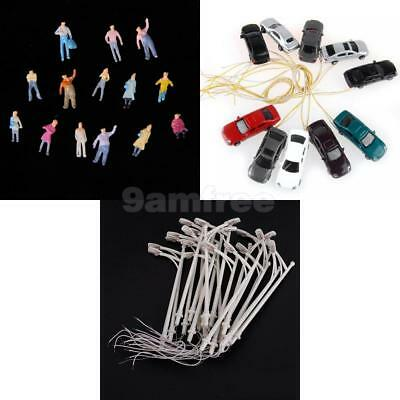 10pc Painted Model Cars + 100pc Train People Figures + 20pcs Street Lights 1:150