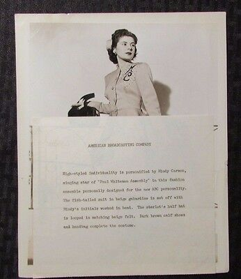1940's MINDY CARSON 8x10 VG 4.0 on ABC TV Show Paul Whiteman Assembly PROMO