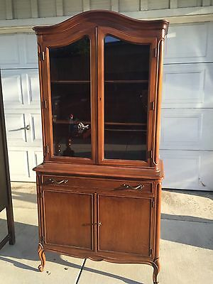 Antique Brexel French Provincial Walnut Wood Hutch Cabinet Cupboard