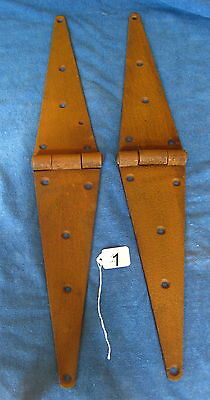 Old Antique Vintage Cast Iron 2 Pc Barn Farm Shed Door Strap Hinges #1