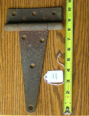 Old Antique Vintage Cast Iron 1Pc Single Barn Farm Shed Door Strap Hinges #11