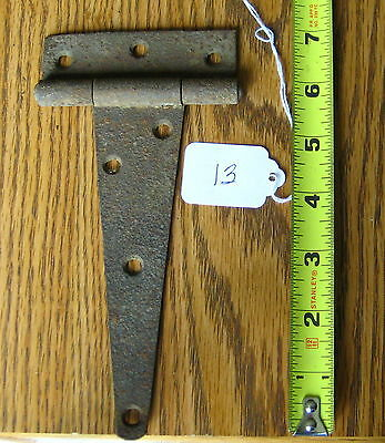 Old Antique Vintage Cast Iron 1Pc Single Barn Farm Shed Door Strap Hinges #13