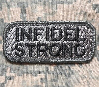 Infidel Strong Army Morale Combat Badge Acu Dark Velcro® Brand Fastener Patch