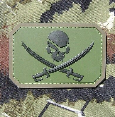Pirate Skull 3D Pvc Flag Army Morale Forest Velcro® Brand Fastener Patch