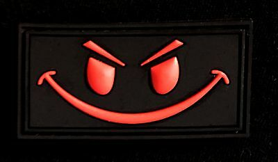 Pvc Evil Smiley Face Tactical Morale Black Ops Red  Velcro® Brand Fastener Patch