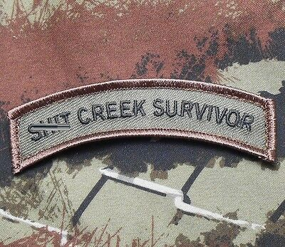 Sh*t Creek Survivor Tab Usa Army Morale Forest Velcro® Brand Fastener Patch