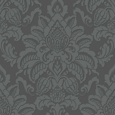 Arthouse Precious Metals Glisten Damask Gunmetal Wallpaper (673201)