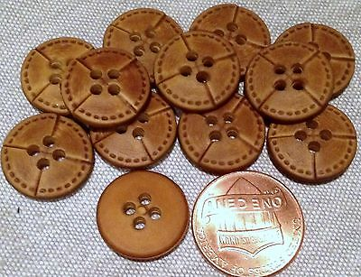 """12 Matte Brown Plastic Leather Look ALL PLASTIC Buttons 5/8"""" 15.5mm # 7536"""
