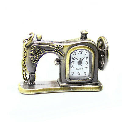 Antique Bronze Alloy Sewing Machine Design Pocket Watch With Necklace Chain