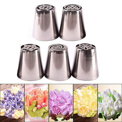 5pcs Cutters Professional Cake Decorators Russian Pastry Nozzles Piping Tips