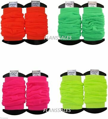 Neon Leg Warmers Dance 80s Party Fancy Dress Rave Clubbing Ballet Womens Girls.
