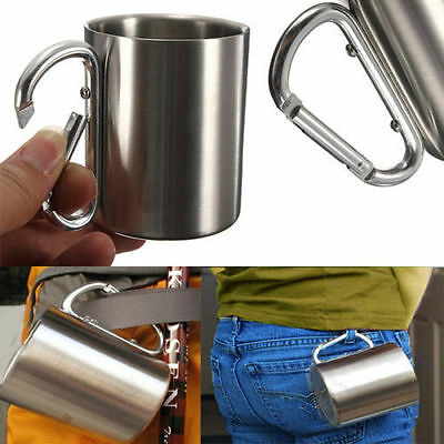 220ml Stainless Steel Coffee Mug Camping Outdoor Portable Cup Carabiner Hook NEW