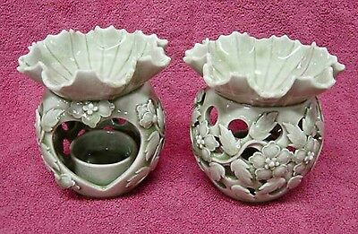 2New Celadon Ceramic Green Leaves Oil Burner Aroma Style Vintage Home Decorate