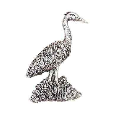 Heron Finely Handcrafted in Solid Pewter In UK Lapel Pin Badge