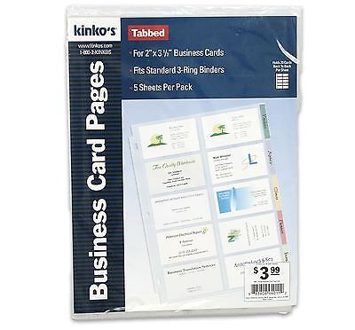 100 Business Card Holder 5 Sheet Pages 3 Hole Organizer Clear Tabbed