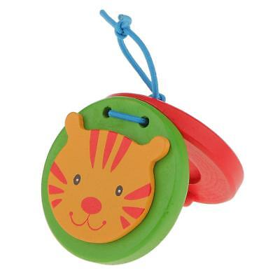 Wooden Castanet Kids Percussion Toy for Baby Early Education-Cat