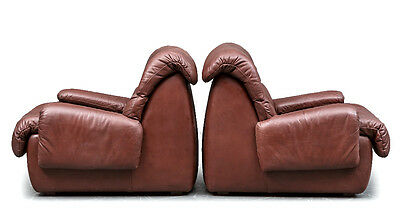 one 1970s retro vintage DANISH LEATHER ARM LOUNGE CHAIR