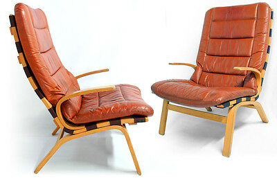 1 of 2 Retro Vintage DANISH FARSTRUP LEATHER LOUNGE ARM CHAIR 1970s