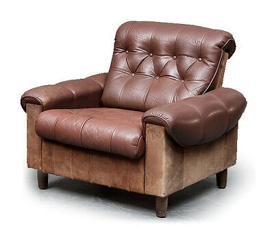 60s 1970s retro vintage DANISH LEATHER AND SUEDE LOUNGE ARM CHAIR