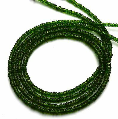 """Super Fine Quality Chrome Diopside Micro Facet 3-5MM Rondelle Bead Necklace 19"""""""