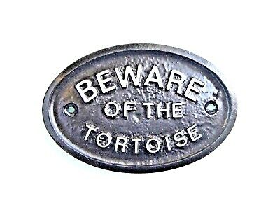 "Silver ""beware Of The Tortoise"" House / Gate Wall Sign / Plaque In Black - New"