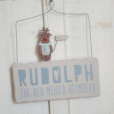 Rudolph The Red Nosed Reindeer Wooden Chic N Shabby Christmas Wall Sign