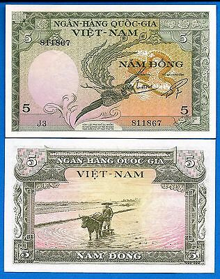 Vietnam South P-2 5 Dong Year ND 1955 aUncirculated (AU) FREE SHIPPING