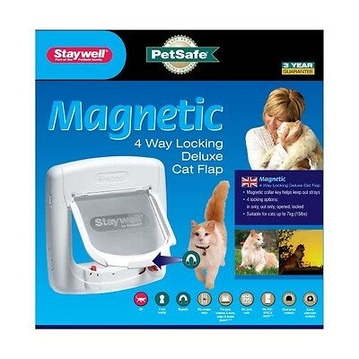 PetSafe Staywell Magnetic 4 Way Locking Deluxe Cat Flap - White • EUR 31,29
