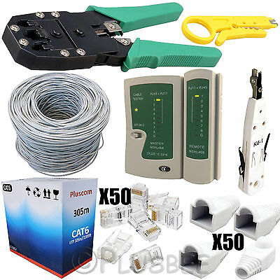 305m RJ45 Cat6 Cable Tester Crimper Krone Tools + Connector Boot Network Kit