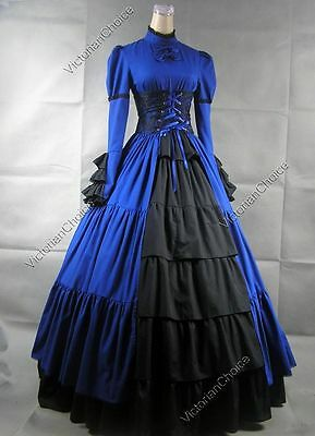 Victorian Gothic Period Corset Dress Gown Steampunk Fashion Theater Clothing 068