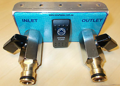 Water tank filler inlet/outlet/pump switch / mounting bracket - pressure fill /