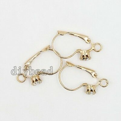 20pcs Wholesale Rose Gold French Hook Earring Earwires With Rhinestone Jewelry J