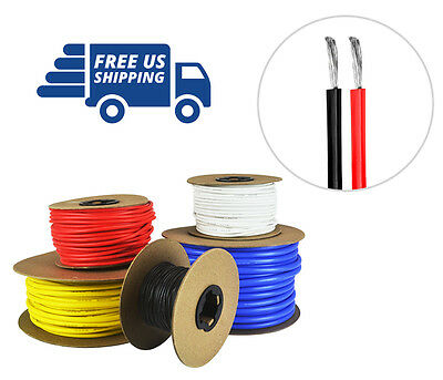 14 AWG Silicone Wire Spool Fine Strand Tinned Copper 100\' each Red ...