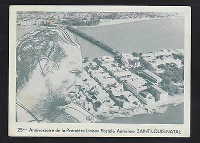 Senegal 1955 Mermoz 25Th Anniversary First Flight Card St Louis To Argentina