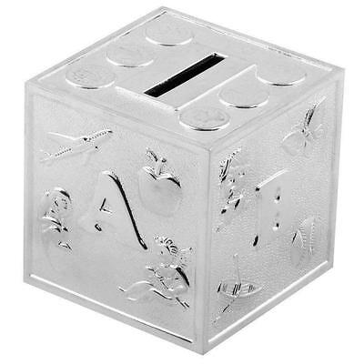 **silver Plated 'abc Cube ' Money Bank Gift Christening New Baby **  Item 6291