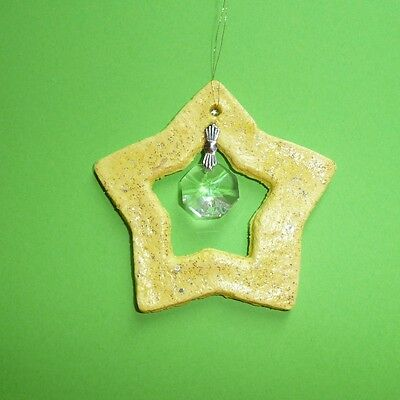 Unique Handmade Christmas Large Star Ornament of homemade salt dough & crystal